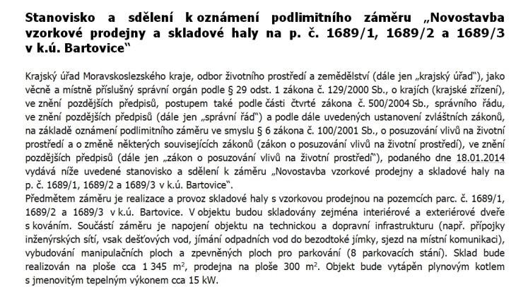 vzorkova prodejna sklad bartovice