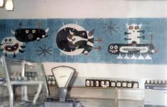 Pavel Hanzelka: Bubáčci, 1968, bývalý mléčný bar Domu Potravin v centru města (foto z pozůstalosti Pavla Hanzelky)