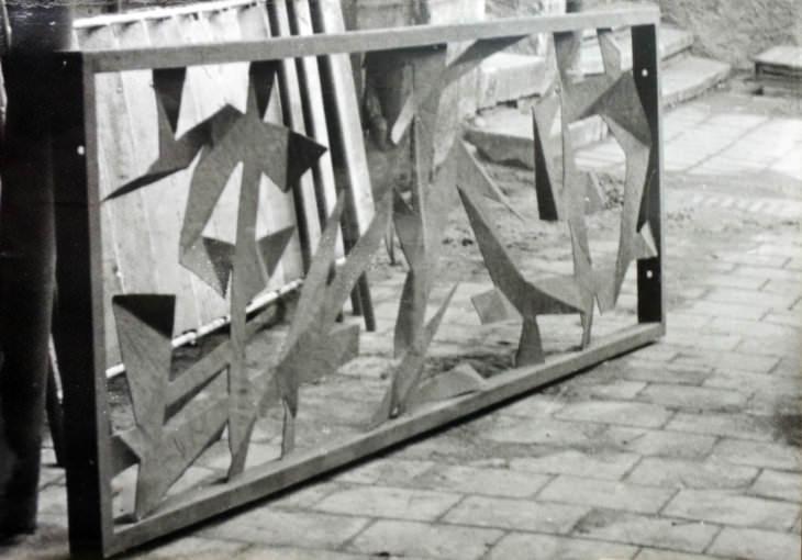 Jaroslava Schindlerová: dekorativní mříž pro restauraci Centrum, 1961–1964 (Zemský archiv v Opavě)