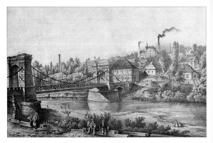 Litografie Ernsta Wilhelma Knippela z let 1847–1857 s pohledem na most přes řeku Ostravici, kde je socha sv. Jana Nepomuckého vidět zcela vlevo před mostem