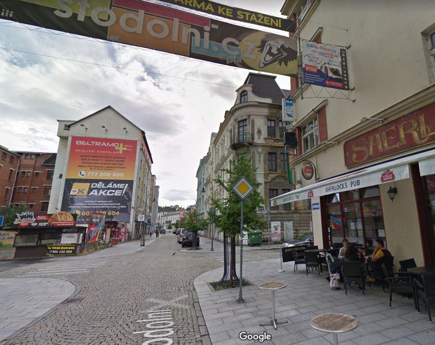 Křížení ulic Stodolní a Pobialova v centru Ostravy.
